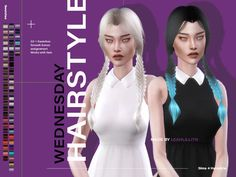 Wednesday Hair Found in TSR Category 'Sims 4 Female Hairstyles' Sims 4 Mac, Sims Cc, Sims 4 Game Mods, Sims Mods, Sims 4 Anime, Sims 4 Cc Shoes, Sims 4 Dresses, Sims 4 Characters, Sims 4 Cc Packs