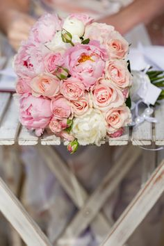 Beautiful pink peonies and roses!
