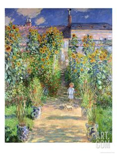 The Artist's Garden at Vetheuil, 1880 Giclee Print by Claude Monet at Art.com *for a child's room?