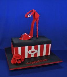 The Shoebox is a display cake, with a gum paste...