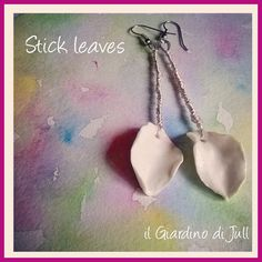 silver and porcelain earrings Stick Leaves, orecchini pendenti di porcellana e argento, by IlGiardinodiJull