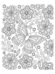 Coloring Poster: Floral Butterfly Coloring Art by Anonymous : Floral Butterfly Coloring Art Coloring Poster Printable Adult Coloring Pages, Cute Coloring Pages, Flower Coloring Pages, Animal Coloring Pages, Coloring Pages To Print, Mandala Coloring, Coloring Books, Doodle Coloring, Butterfly Coloring Page