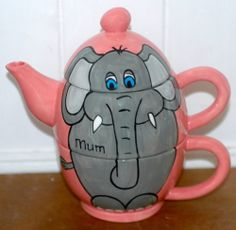 Hand Painted Personalised Ceramic Elephant Tea for One Teapot and cup gift set