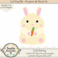 Cute Bunny, Cute, Bunny, coelho, coelhinho, fofo, fofinho, Coelho, coelhinho, bunny, rabbit, farm, fazenda, farm animal, animal, pet, Happy easter, Feliz Páscoa, love, páscoa, easter, easter bunny, arquivo de recorte, corte regular, regular cut, svg, dxf, png, Studio Ilustrado, Silhouette, cutting file, cutting, cricut, scan n cut