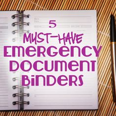 5 Must-Have Emergency Document Binders - I think it's a really smart idea to have one of these. Emergency Binder, In Case Of Emergency, Emergency Supplies, Household Binder, Household Notebook, Home Binder, Emergency Preparation, Emergency Planning, Home Management Binder