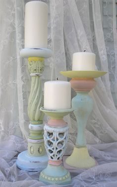 3 Candle Holders Shabby Chic Cottage Easter by upcyclesisters