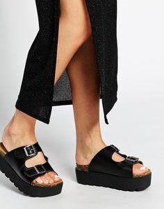 Image 1 ofTruffle Collection Buckle Slide Flatform Sandals