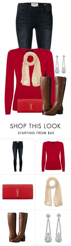 """""""Christmas Outfit"""" by cherrykisses88 ❤ liked on Polyvore featuring Frame, Jaeger, Yves Saint Laurent, Gentryportofino and Bandolino"""