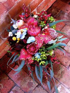 """Australian Native Bouquet - beautiful vivid colours """"Rutherglen Florist', this almost looks like the bouquet my boss got me for my birthday Pretty Flowers, Fresh Flowers, Flower Decorations, Wedding Decorations, Wedding Bouquets, Wedding Flowers, Protea Flower, Australian Native Flowers, Our Wedding"""