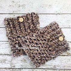 Chunky Handmade Boot Cuffs Aran Brown Black Boot Socks Bulky Legwarmers Button Womens Calf Warmers Crochet