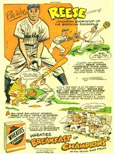 Pee Wee Reese, Wheaties Baseball Art, Sports Baseball, Baseball Players, Baseball Stuff, Giants Dodgers, Sports Advertising, Old Comic Books, Baseball Equipment, Old Comics
