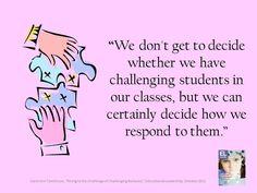 "Carol Ann Tomlinson, ""Rising to the Challenge of Challenging Behavior,"" Educational Leadership, October 2012"