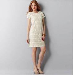 Ann Taylor Lace Crochet Short Sleeve Dress