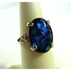 Ring Vivid Blue Paua Shell Statement Ring Sterling Silver Fine Ladies... ($24) ❤ liked on Polyvore featuring jewelry, rings and integritytt