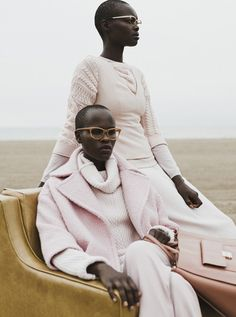 Naro Lokuruka & Aluad Deng Anei by Jane & Jane for Filler Magazine F/W 2015 - my new fav wardrobe colors are soft neutrals and this barely-there pink color i keep seeing <3