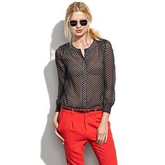Madewell Silk Spot Blouse (Item#58330) $69.99 #madewell #blouse