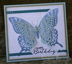 butterfly birthday card made with Stampin Up Swallowtail & Butterfly Basics stamps & dies. Card by Di Barnes #colourmehappy