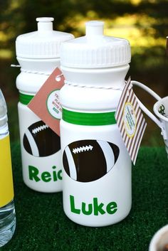 Football Party Favors -this gives me an idea! maybe little gifts for kiddos on Haydns tball team with candy, sunflower seeds, stickers, etc Football Party Favors, Football Birthday, Soccer Party, Boy Birthday, Birthday Parties, Birthday Ideas, Football Wedding, Soccer Ball, Football Homecoming