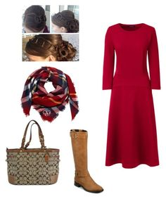 Fall Winter Outfit | Modest |  Church | Work by my-apostolic-pentecostal-self on Polyvore featuring polyvore, fashion, style, Lands' End, Aerosoles, Coach and clothing