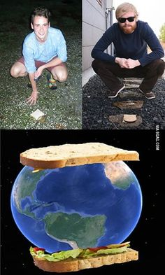 Me (located in Iceland) and my friend (located in New Zealand) made the biggest sandwich of all time