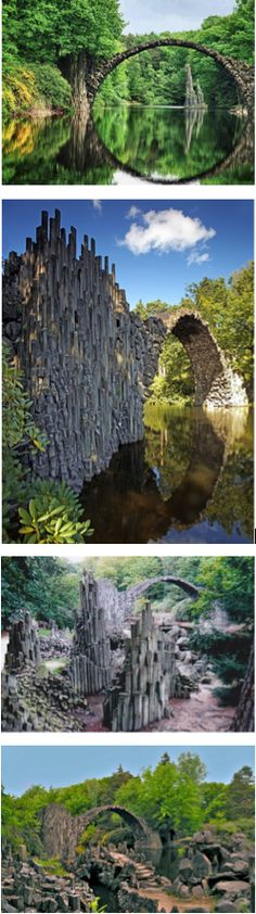 Devil's Bridge, built around 1860,  - Kromlauer Park is in the Görlitz Gablenzgasse district in Germany. Other peculiar rock formations were built on the lake and in the park. Devil's Bridge is no longer open to the public. The bridge's reflection on the water's surface creates a flawless circle, regardless of which side is being viewed.