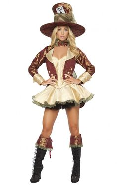 Roxanni 4251-Deluxe 4pc Tea Party Hatter by Roma Halloween Costumes  sc 1 st  Pinterest & The 434 best Women Halloween Costumes 2015 images on Pinterest ...