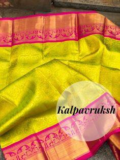 Pattu Sarees Wedding, Wedding Saree Blouse Designs, Indian Bridal Sarees, Half Saree Designs, Bridal Silk Saree, Indian Silk Sarees, Pure Silk Sarees, Cotton Sarees Handloom, Silk Saree Kanchipuram