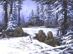 """Its the forests outside of Bastogne, not the city itself I'm interested in. The lives lost in WWII and the pivotal role it played in turning the tide against Germany. A """"most stop here"""" experience along my WWII tour of Europe. Comics Illustration, Illustrations, Military Art, Military History, Military Uniforms, Military Jeep, Texas Battle, Battle Of Antietam, Company Of Heroes"""