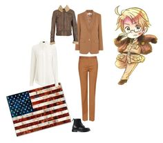 """""""America Hetalia Uniform"""" by draco-malfoy-lives ❤ liked on Polyvore featuring STELLA McCARTNEY, ArteHouse, Joseph, Salvatore Ferragamo, Matchless and Dr. Martens"""