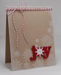 Stamps:  Folk Art Flurries (Wplus9 Design Studio) Ink:  Fresh Snow (PTI) Paper:  Crumb Cake, Whisper White, Cherry Cobbler (SU!) Accessories:  Seasonal Sentiment dies (Wp9), Bakers Twine (SU!), Rhinestone