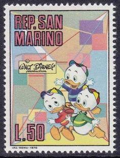 San Marino 1970 Disney Memorial Stamps  Artist: Giovan Battista Carpi