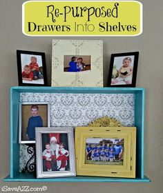 Re-purposed Drawers Into Shelves