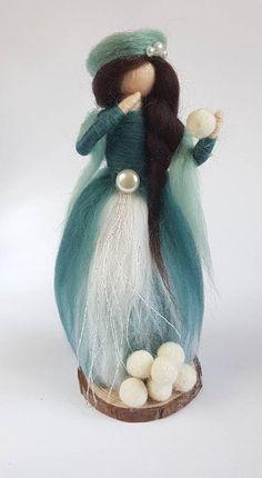 Your marketplace to buy and sell handmade items. Needle Felted, Wet Felting, Christmas Fairy, Felt Christmas, Blue Christmas, Felt Crafts, Fabric Crafts, Felt Angel, Mantle Piece