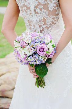Bridal Bouquet purple, white, roses, lavender hydrangea, lace back wedding gown, Memphis Wedding, Andrea King Photography