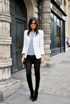 Emmanuelle Alt in White Blazer, different shirt though. | Street #Style
