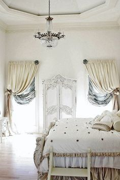 Side curtains in white bedroom
