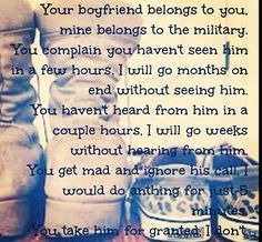 Story of my life Proud Navy Girlfriend. I hate girls that complain about stuff like this. Usmc Love, Marine Love, Military Love, Military Spouse, Military Care Package Ideas For Boyfriend, Military Deployment, Military Families, National Guard Girlfriend, Proud Army Girlfriend