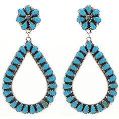 Large Turquoise Teardrop Earrings at Maverick Western Wear