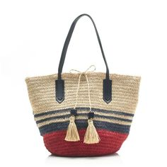 The 5 *Cutest* Beach Bags for Summer: J.Crew Striped Straw Market Tote
