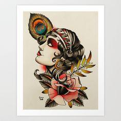 CIGANA - tattoo Art Print by Guru - $20.00