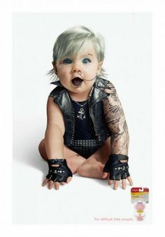 Playtex plays it safe going #Goth or #Rocker with a baby, since who doesn't love babies dressed-up as something that is considered so alternative?
