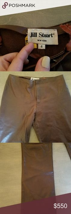Jill Stuart lambskin leather chocolate brown pants Worn and leather dry cleaned tag attached. These are incredible straight legged high end leather pants. Size 4. Jill Stuart Pants Straight Leg