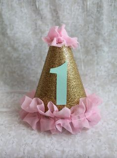 Gold Glitter Mini Birthday Cake Smash Party Hat / Headband with Pink Ruffle Trim and Mint Number -CUSTOMIZABLE-