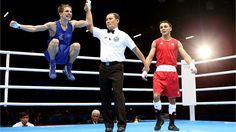 Michael Conlan (Ireland) celebrates his Men's Fly (52kg) Boxing victory over Nordine Oubaali (France)