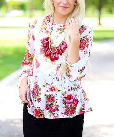 Look at this #zulilyfind! Ivory Sheer Floral Lace-Accent Blouson Top - Women #zulilyfinds