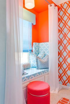 A DIY stenciled accent wall in a teen girl's bedroom using the Tamara Trellis Allover stencil pattern in bold orange and turquoise. http://www.cuttingedgestencils.com/tamara-trellis-allover-wall-stencils.html