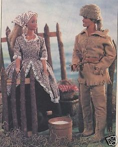 "11.5""BARBIE&KEN COLONIAL FRONTIER/EARLY WESTERN/WEST DOLL CLOTHES PATTERN"