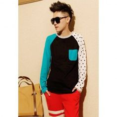 $8.24 Fashionable Style Asymmetric Sleeve Color Block Long Sleeve T-Shirt For Men