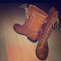 Combat boots Tan/brown combat boots Wild Diva Shoes Combat & Moto Boots