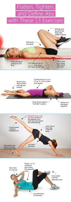 Flatten, Tighten, Define Abs with These 13 Exercises #fitness #women #health #GetFit